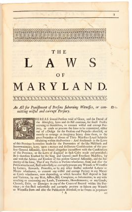 Acts of Assembly, Passed in the Province of Maryland, from 1692, to 1715