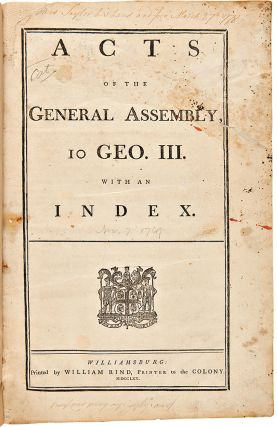 Acts of the General Assembly, 10 Geo. III, with an Index. VIRGINIA LAWS