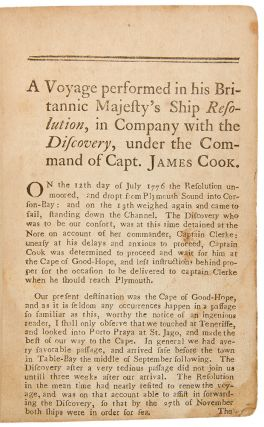 A Journal of Captain Cook's Last Voyage to the Pacific Ocean, and in Quest of a North-West Passage, Between Asia & America performed in the years 1776, 1777, 1778, and 1779