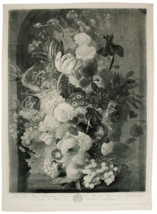 A Flower Piece with vase, bird's nest in niche; & A Flower Piece with vase, peaches and grapes in...