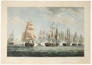 To the Right Honorable Charles Yorke, First Lord of the Admiralty, &c. &c. Plate 2nd. Representing the British Line after Wearing to renew the Action, Starboard division of the Enemy passing under the Amphion's Stern and raking her Larboard division hawling to the Wind on the laboard Tack, engaging the Gerberus, Active and Volage ... [With:] To the Right Honorable Charles Yorke, First Lord of the Admiralty, &c. &c. Plate 3rd. Representing the Favorite of 44 Guns, Commodore Dubordieu on Shore and on Fire_ Active and Cerberus taking possession of the Corona of 44 Guns, and a Boat from the Amphion boarding the Bellona of 32 Guns_ The Flora of 44 Guns escaping after having struck her Colours owing to the crippled state of the British Squadron.