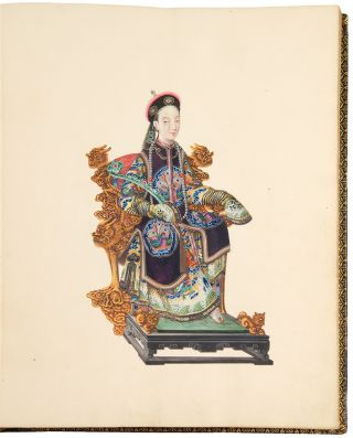 [Album of exceptional watercolours of members of the Chinese court, various occupations, landscape views, Chinese junks and botanical and ornithological subjects]
