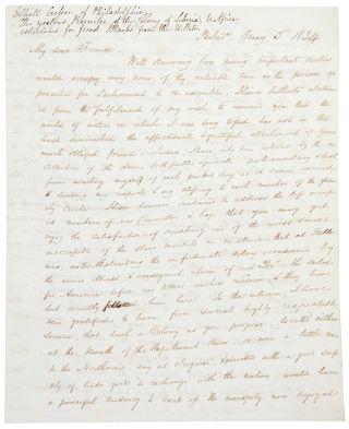 Autograph letter signed to Member of Parliament Benjamin Hawes, concerning the Spanish slave...