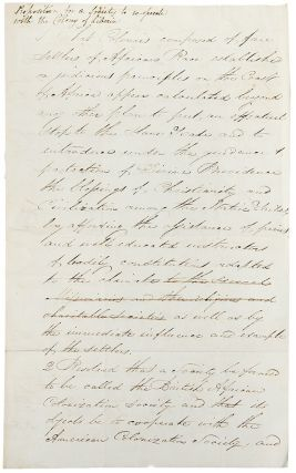 Autograph letter signed to Member of Parliament Benjamin Hawes, sending him the proposed resolution to establish the British African Colonization Society, and on William Lloyd Garrison's opposition to the colonization movement