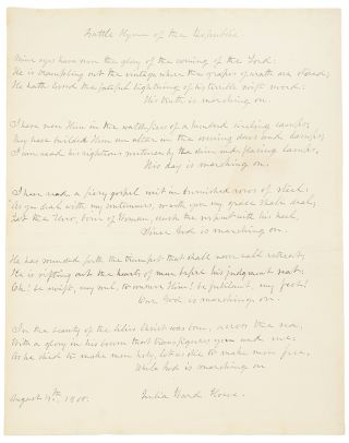 Autograph manuscript signed, the complete five stanzas of the Battle Hymn of the Republic. Julia...