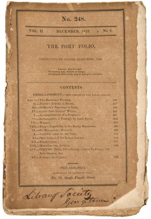 Expedition to the Rocky Mountains. H. C. Carey & I. Lea, Have in Press, and will publish in December, Account of an Expedition from Pittsburgh to the Rocky Mountains ... [rear wrapper advertisement on a December 1822 issue of The Port Folio]