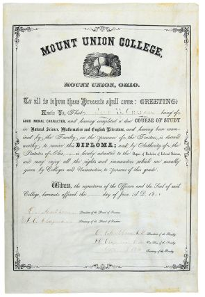 Partly-printed vellum document signed, a diploma granting a Bachelor of Liberal Science degree to...