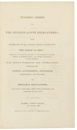 Standing Orders for the Seventy-Ninth Highlanders. CANADA