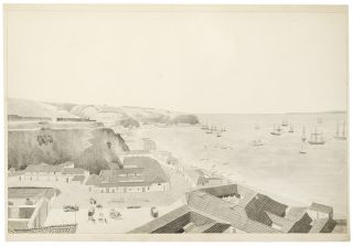 [Two-sheet watercolor panorama of Valapariso, accomplished by an American naval officer]