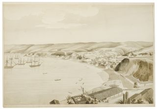 Two-sheet watercolor panorama of Valapariso, accomplished by an American naval officer]. CHILE -,...