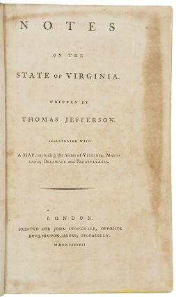 Notes on the state of Virginia. Thomas JEFFERSON