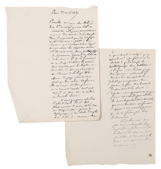 Four manuscript letters from Tocqueville to John Stuart Mill (3) and Henry Reeve (1), written in...