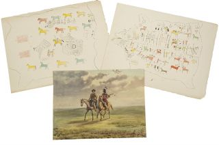 Three original drawings from his 1846-1852 travels in the American West]. Rudolf Friedrich KURZ
