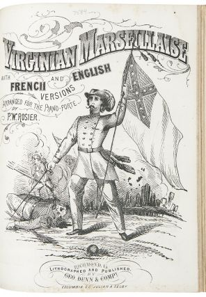 Bound volume of 44 pieces of lithographed Confederate sheet music, mostly with illustrated covers