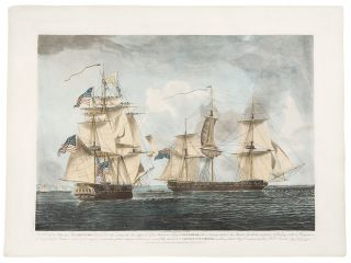 This View of his Majesty's Ship Shannon, hove to, and cooly waiting the close Approach of the...