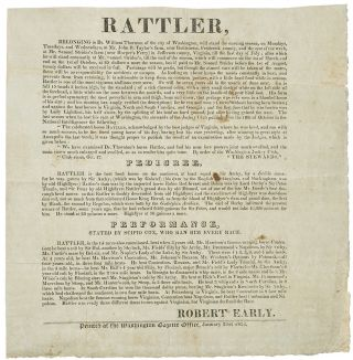 Rattler ... Belonging to Dr. William Thornton of the City of Washington, will stand the ensuing...