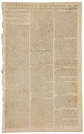 Supplement to the Boston Gazette ... Monday, June 2, 1766 ... To him, whose guilty Conscience...