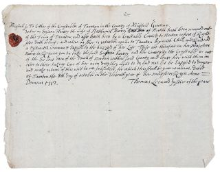 Unusual manuscript document signed by the Justice of the Peace of Tauton, Massachusetts, ordering...