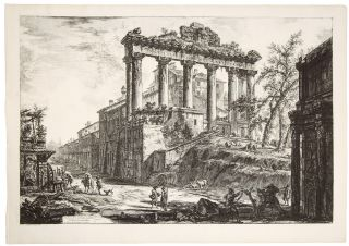The Temple of Saturn, with a Corner of the Arch of Septimius Severus in the Foregound. Giovanni...