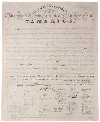 In Congress, July 4th. 1776. The Unanimous Declaration of the Thirteen United States of America....