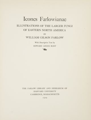 Icones Farlowianae. Illustrations of the Larger Fungi of Eastern North America ... With descriptive text by Edward Angus Burt