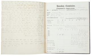 Two survey notebooks recording astronomical observations and chronometer readings from an...