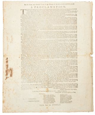 By the Great and General Court of the Colony of Massachusett's-Bay. A Proclamation. The Frailty...