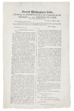 General Washington's Letter Declaring his Acceptance of the Command of the Armies of the United...