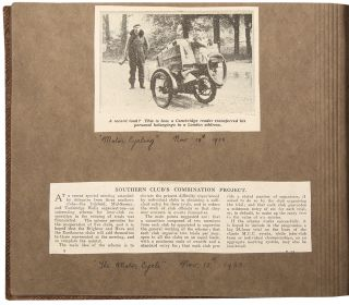 [Album of newspaper clippings, photographs, and ephemera related to the Kent Motor Club]