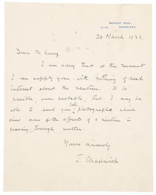 Autograph letter signed, written to George Frederick Kunz regarding his research on the Neutron....