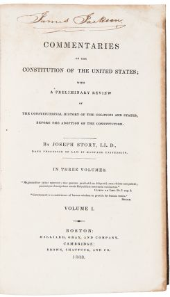 Commentaries on the Constitution of the United States. Joseph STORY