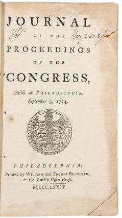 Journal of the Proceedings of the Congress, held at Philadelphia, September 5, 1774 ... [Bound...