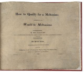 How to Qualify for a Meltonian; Addressed to all Would-Be Meltonians ... by Ben Tally-Ho