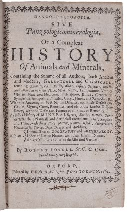 Panzooryktologia [in Greek]. Sive Panzoologicomineralogia. Or a compleat history of animals and...