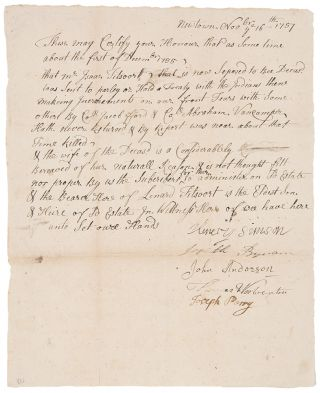 Manuscript document signed by the selectmen of Newtown, NJ, attesting that Isaac Titsoort [i.e....