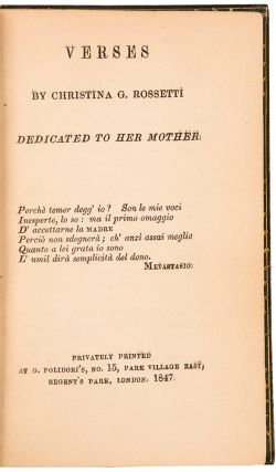 Verses ... Dedicated to her Mother. Christina ROSSETTI