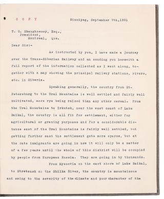 Contemporary typescript copies of two letters written by a Canadian railway executive to...