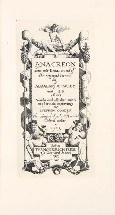 Anacreon, done into English out of the original Greek by Abraham Cowley and S.B. 1683, newly...