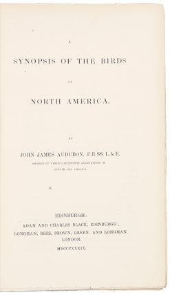 Synopsis of the Birds of North America. John James AUDUBON