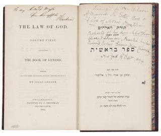 Torat Ha-Elo-Him ... The Law of God. American - BIBLE IN HEBREW JUDAICA, ENGLISH - Isaac LEESER